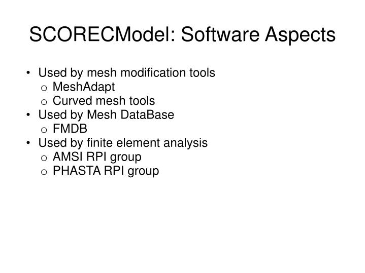 SCORECModel: Software Aspects
