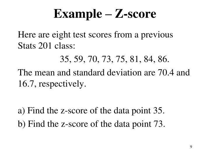 Example – Z-score