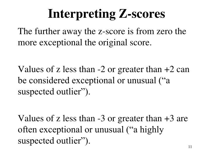 Interpreting Z-scores