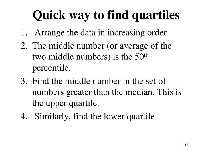 Quick way to find quartiles