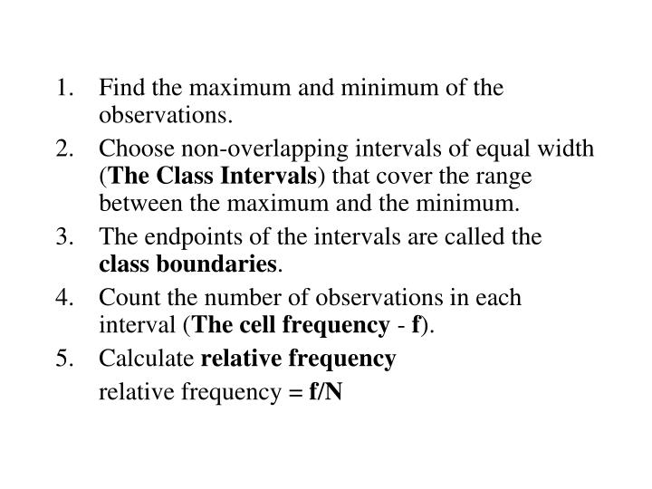 Find the maximum and minimum of the observations.