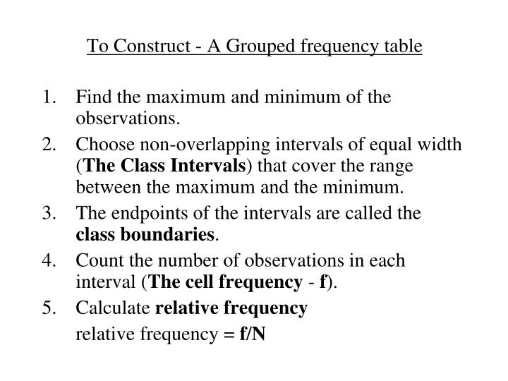 To Construct - A Grouped frequency table