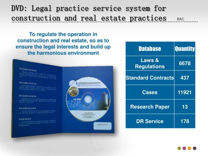 DVD: Legal practice service system for construction and real estate practices