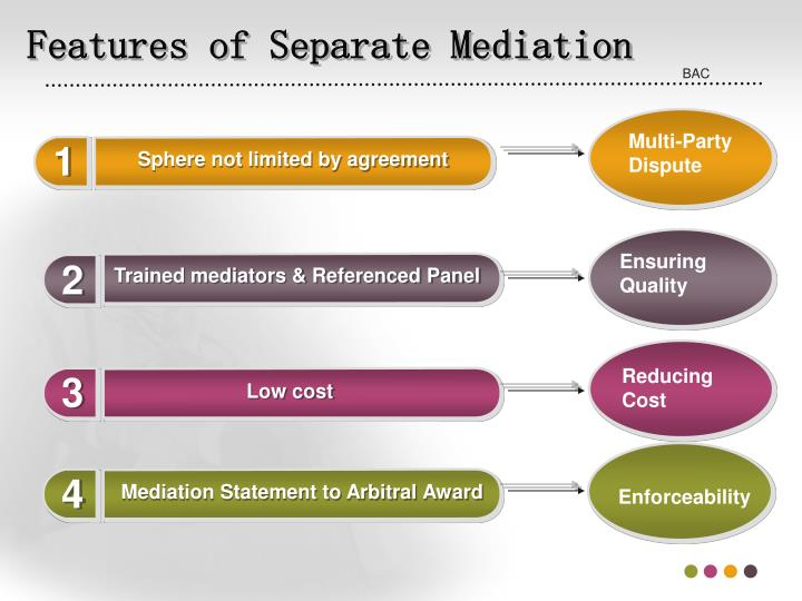 Features of Separate Mediation