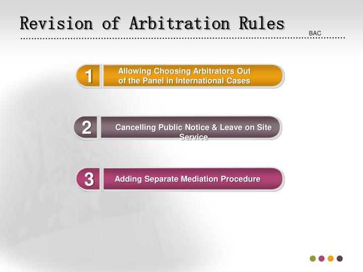 Revision of Arbitration Rules