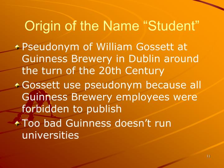 "Origin of the Name ""Student"""