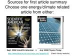 sources for first article summary choose one energy climate related article from either