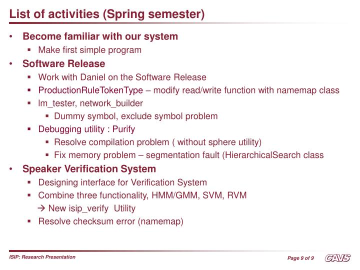 List of activities (Spring semester)