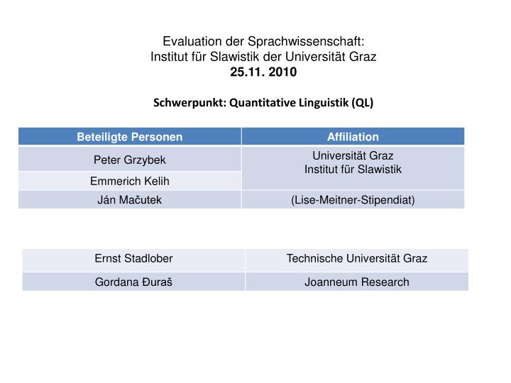 Evaluation der Sprachwissenschaft: