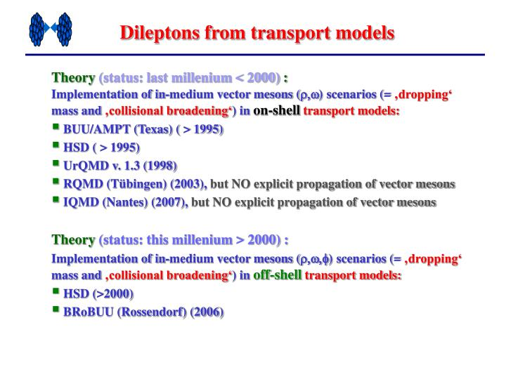 Dileptons from transport models