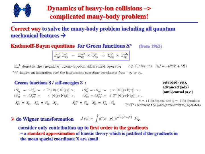 Dynamics of heavy-ion collisions –> complicated many-body problem!