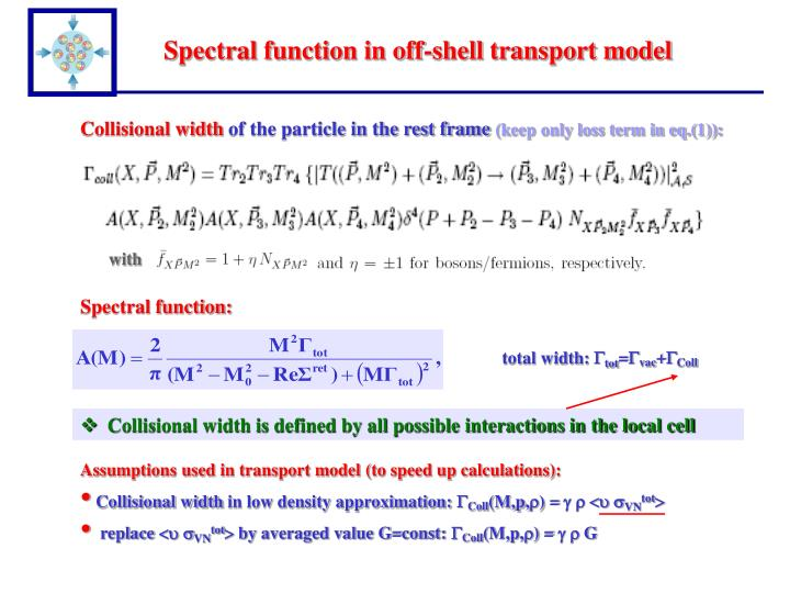 Spectral function in off-shell transport model
