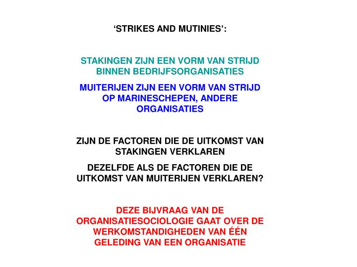 'STRIKES AND MUTINIES':