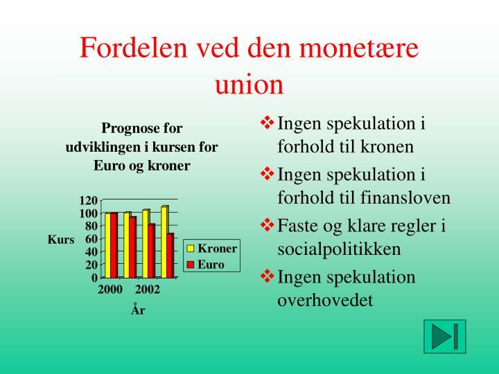 Fordelen ved den monetære union