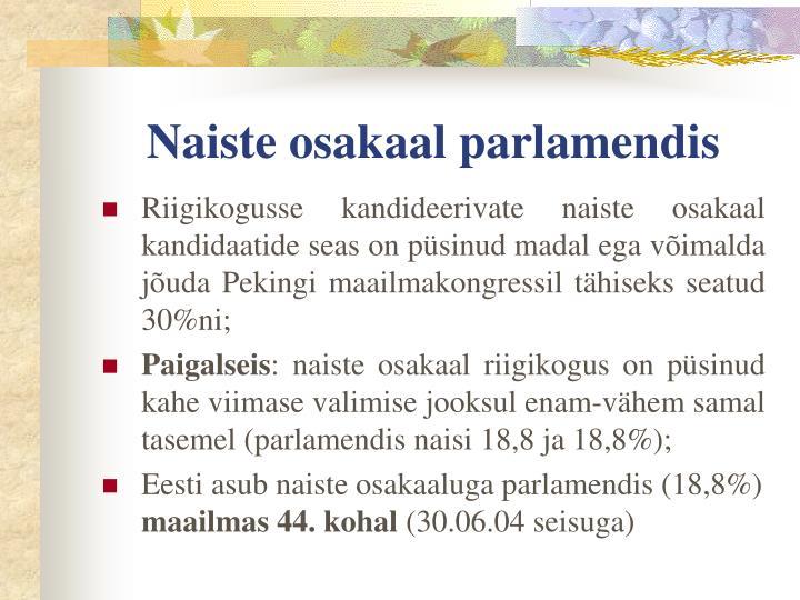 Naiste osakaal parlamendis