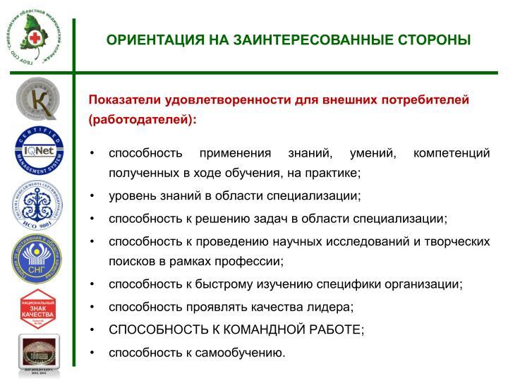 Показатели удовлетворенности для внешних потребителей (работодателей