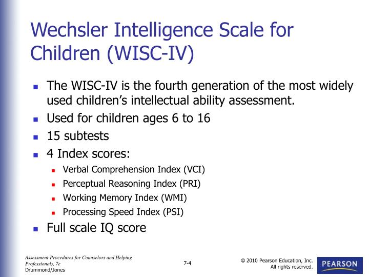 The WISC-IV is the fourth generation of the most widely used children's intellectual ability assessment.