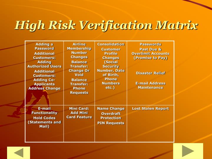 High Risk Verification Matrix