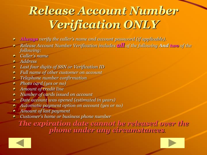 Release Account Number Verification ONLY