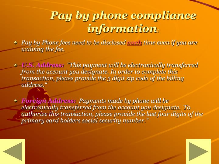 Pay by phone compliance information