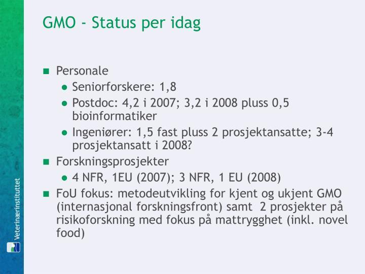 GMO - Status per idag