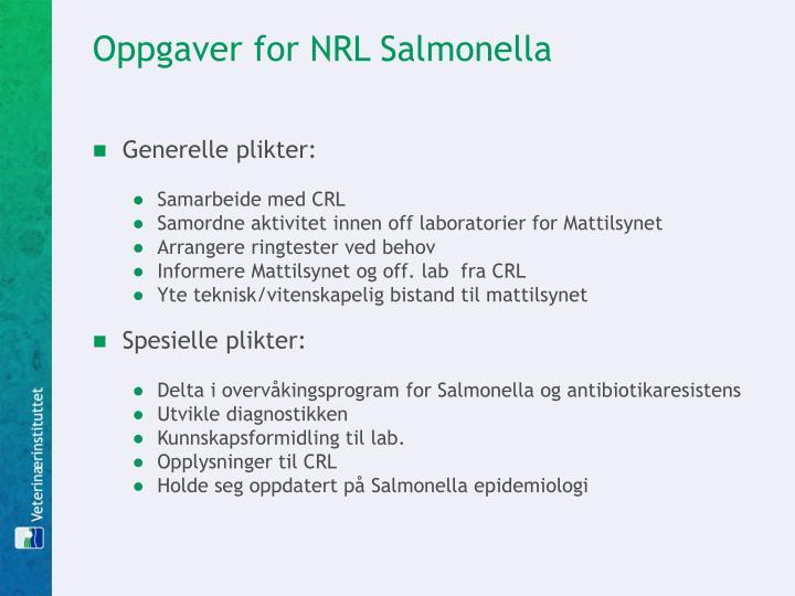 Oppgaver for NRL Salmonella