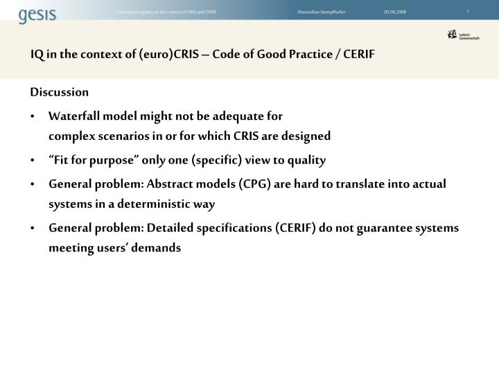 IQ in the context of (euro)CRIS – Code of Good Practice / CERIF
