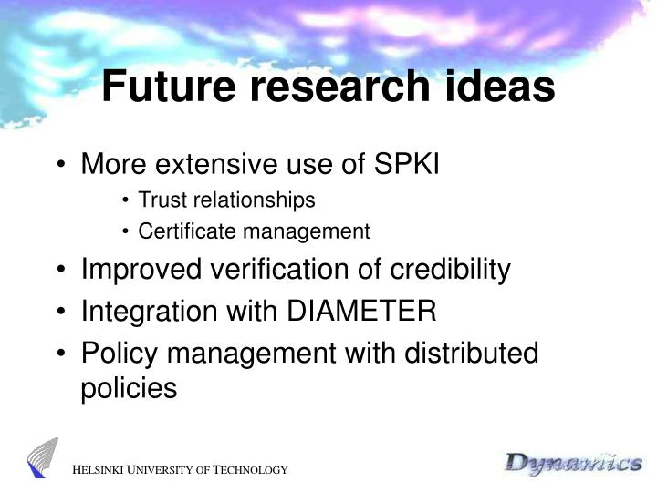 Future research ideas