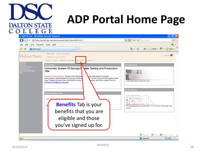 ADP Portal Home Page