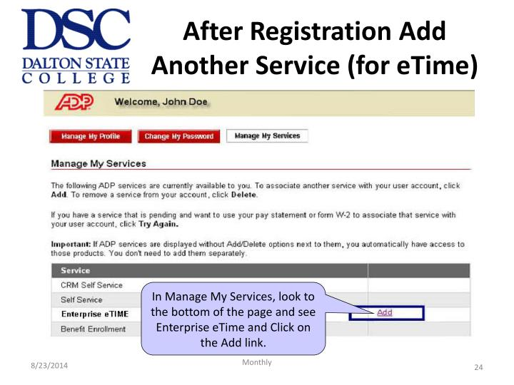 After Registration Add Another Service (for eTime)
