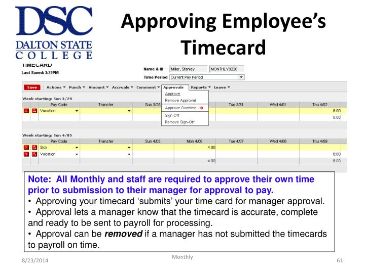 Approving Employee's Timecard