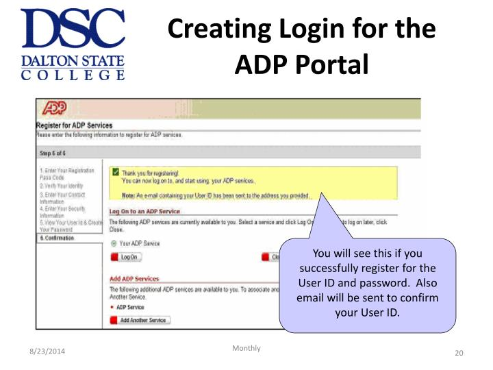 Creating Login for the ADP Portal