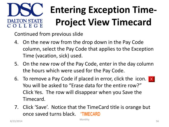 Entering Exception Time- Project View Timecard