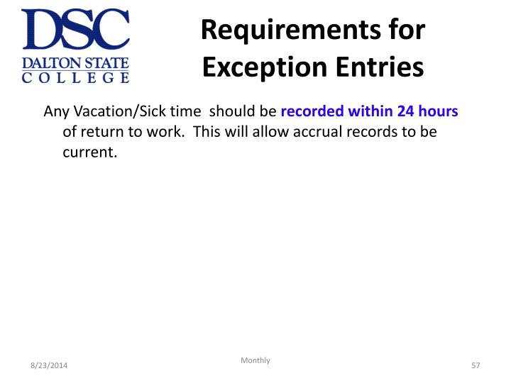 Requirements for Exception Entries