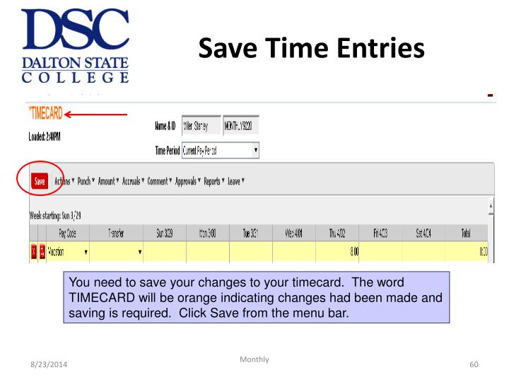 Save Time Entries