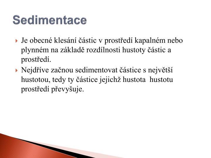 Sedimentace
