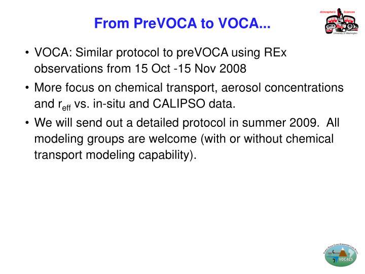 From PreVOCA to VOCA...