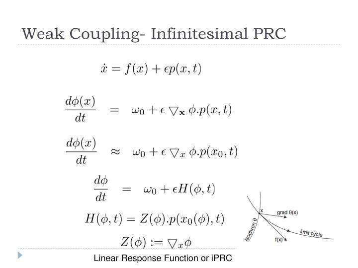 Weak Coupling- Infinitesimal PRC