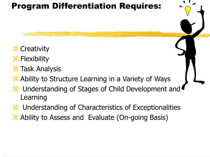 Program Differentiation Requires: