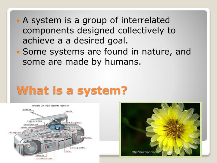 A system is a group of interrelated components designed collectively to achieve a a desired goal.
