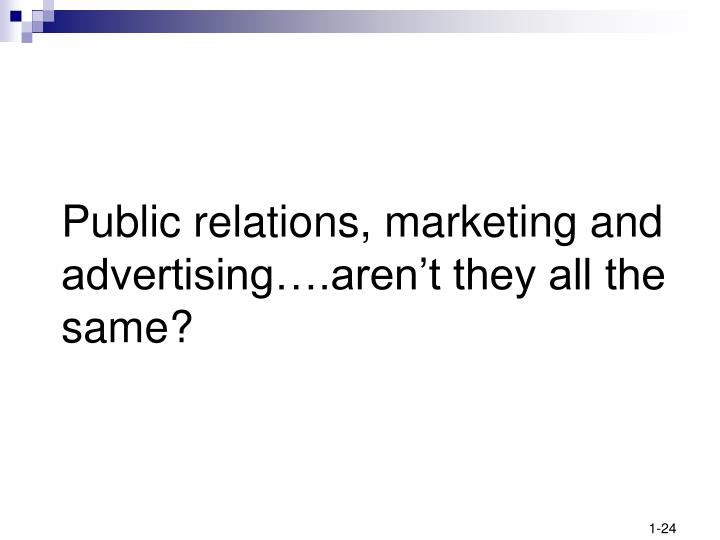 Public relations, marketing and advertising….aren't they all the same?