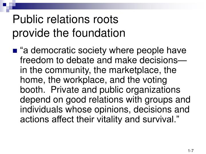 Public relations roots