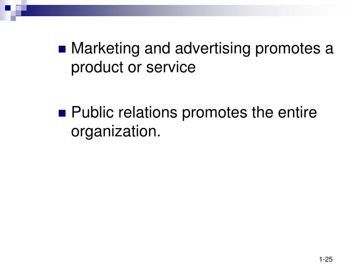 Marketing and advertising promotes a product or service
