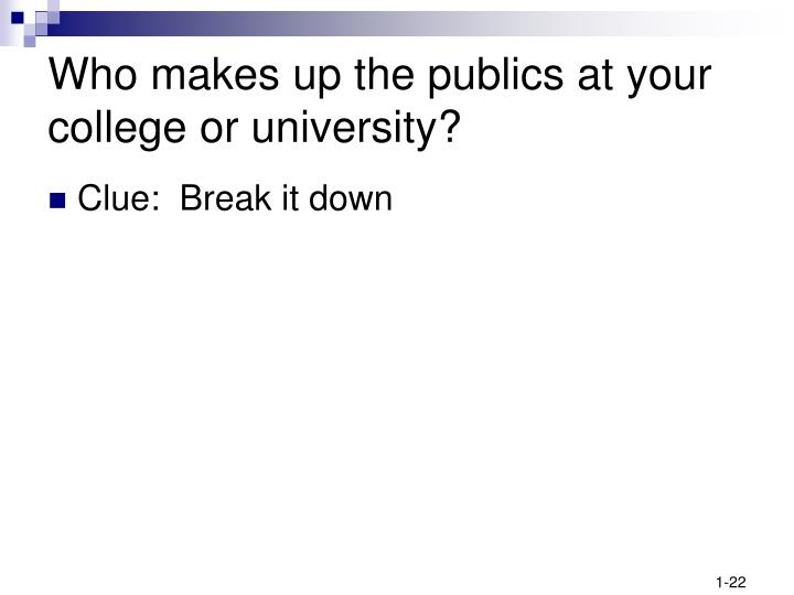 Who makes up the publics at your college or university?
