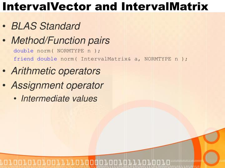 IntervalVector and IntervalMatrix