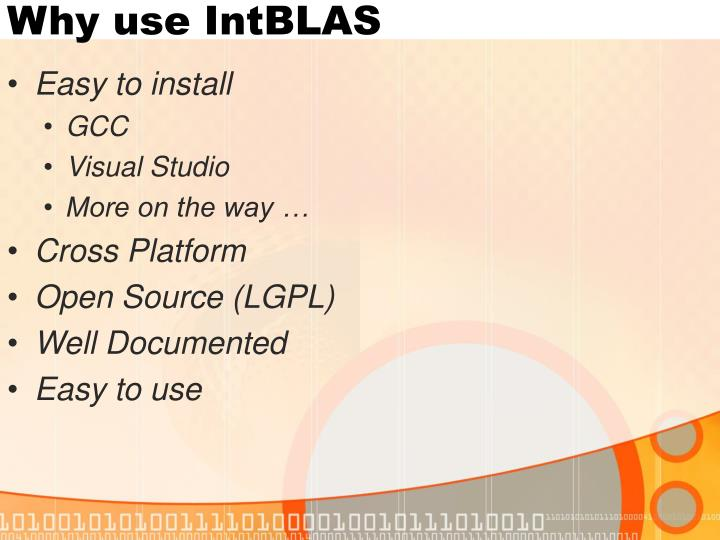 Why use IntBLAS