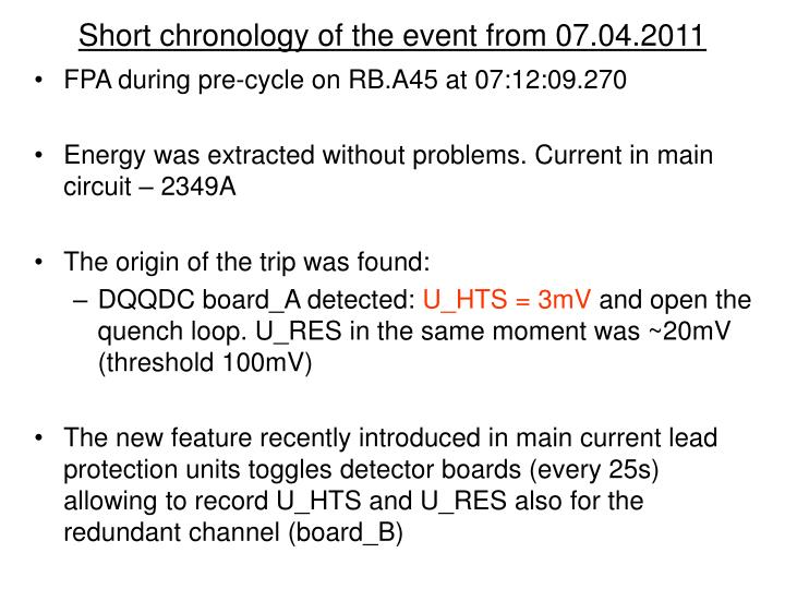 Short chronology of the event from 07 04 2011