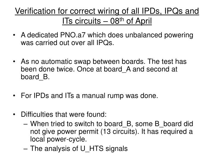 Verification for correct wiring of all IPDs, IPQs and ITs circuits – 08
