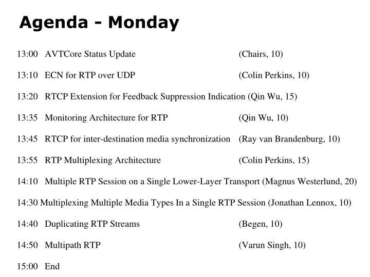 Agenda - Monday