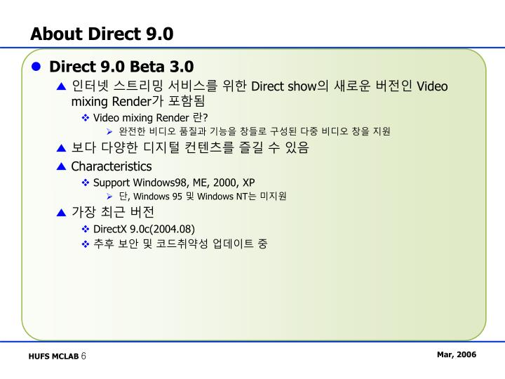 About Direct 9.0